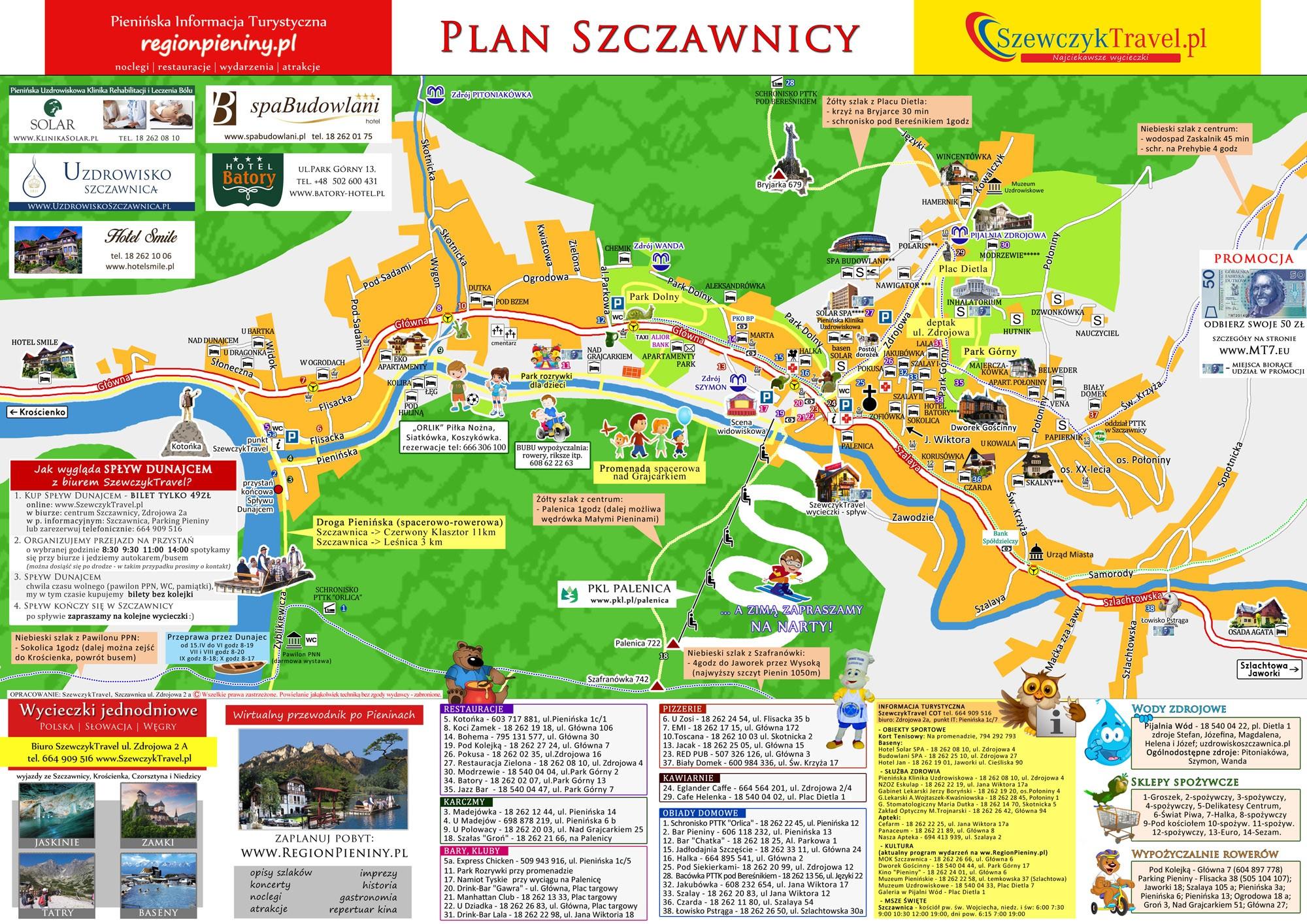 Plan Szczawnicy Szewczyktravel Splyw Dunajcem Wycieczki